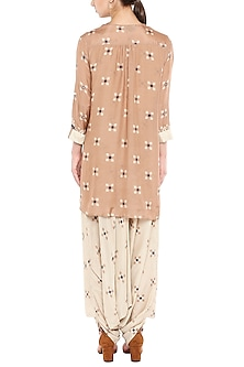 Beige Printed Jumpsuit With Embellished Sand Brown Jacket by Soup by Sougat Paul