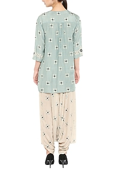 Beige Printed Jumpsuit With Embellished Blue Jacket by Soup by Sougat Paul
