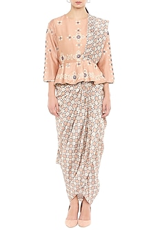 Peach & Brown Embellished Pre-Draped Saree by Soup by Sougat Paul