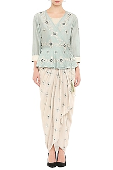 Mellow Rose Draped Dress With Embellished Jacket by Soup by Sougat Paul