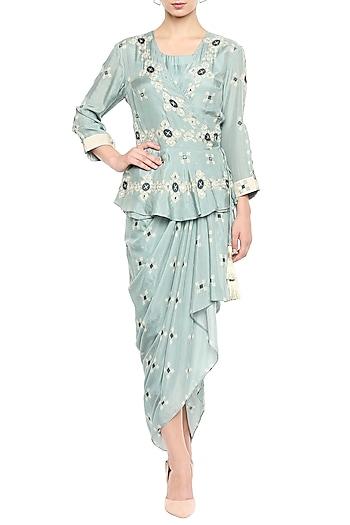 Blue Draped Dress With Embellished Peplum Jacket by Soup by Sougat Paul