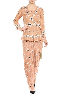 Peach Draped Dress With Embellished Peplum Jacket by Soup by Sougat Paul
