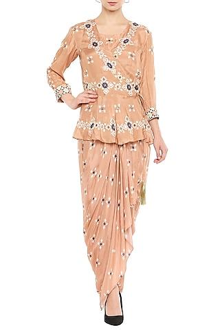 Peach Draped Dress With Embellished Peplum Jacket by Soup by Sougat Paul