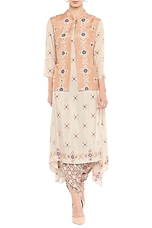 Beige Kurta With Dhoti Pants & Embellished Jacket by Soup by Sougat Paul