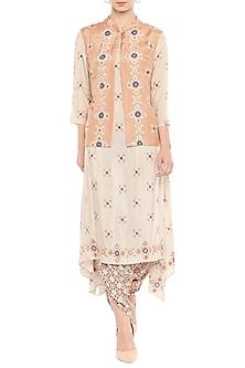 Beige Kurta With Dhoti Pants & Embellished Jacket by Soup by Sougat Paul