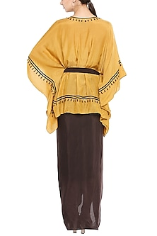 Mustard Embroidered Kaftan With Brown Skirt & Belt by Soup by Sougat Paul