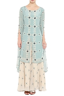 Blue Embroidered Kurta With Beige Printed Pants by Soup by Sougat Paul