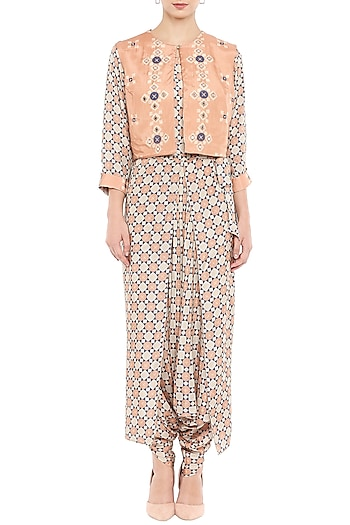 Brown Printed Jumpsuit With Peach Embroidered Jacket by Soup by Sougat Paul