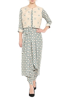 Blue Printed Jumpsuit With Beige Embroidered Jacket by Soup by Sougat Paul