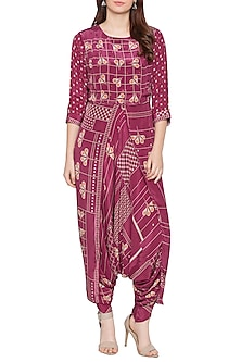 Maroon Printed Dhoti Jumpsuit by Soup by Sougat Paul