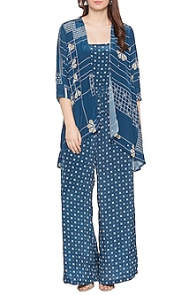 Blue Printed Jumpsuit With High-Low Jacket by Soup by Sougat Paul