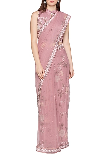 Blush Pink Printed & Embellished Pre-Stitched Saree Set by Soup by Sougat Paul