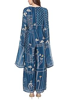 Blue Printed Jumpsuit by Soup by Sougat Paul