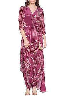 Maroon Dhoti Style Wrap Jumpsuit by Soup by Sougat Paul