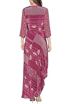 Maroon Dhoti Style Wrap Jumpsuit by Soup by Sougat Paul