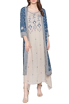 Blue Printed Tunic With Jacket by Soup by Sougat Paul