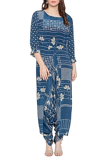Blue Printed Dhoti Style Jumpsuit by Soup by Sougat Paul