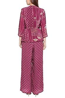 Maroon Peplum Style Wrap Jumpsuit by Soup by Sougat Paul