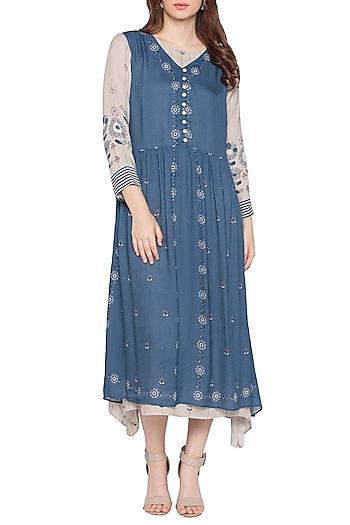 Blue Printed Dress by Soup by Sougat Paul