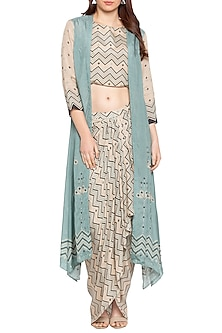 Blue Printed Long Jacket With Beige Draped Skirt & Crop Top by Soup by Sougat Paul