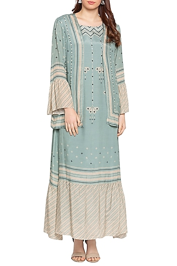 Blue & Beige Printed Maxi Dress With Jacket by Soup by Sougat Paul