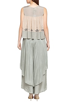 Blue & Beige Printed Embellished Top With Layered Pants by Soup by Sougat Paul
