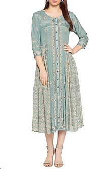 Blue & Beige Printed Midi Dress by Soup by Sougat Paul