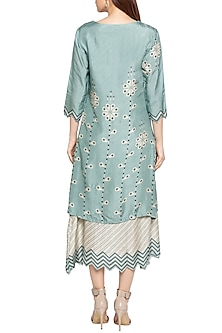 Blue & Beige Printed Layered Midi Dress by Soup by Sougat Paul