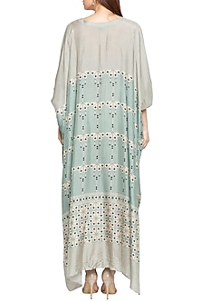 Blue & Beige Printed Kaftan Dress by Soup by Sougat Paul