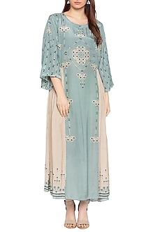 Blue & Beige Printed Embellished Maxi Dress by Soup by Sougat Paul
