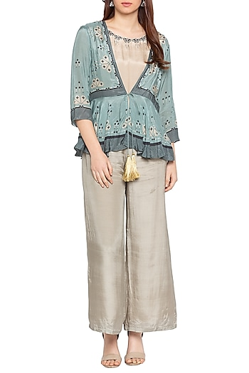 Blue Printed & Embellished Peplum Jacket With Beige Jumpsuit by Soup by Sougat Paul