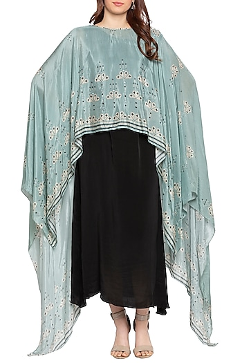 Sea Green Printed Cape With Black Maxi Dress by Soup by Sougat Paul