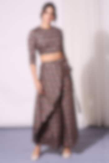 Black Printed Flapped Pant Set by Soup by Sougat Paul