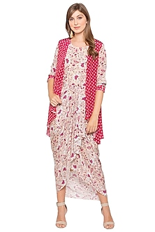 Pink Printed Draped Dress With Jacket by Soup by Sougat Paul