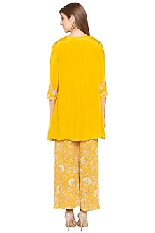 Yellow Printed Jumpsuit With Embellished Jacket by Soup by Sougat Paul