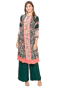 Green & Pink Printed Kurta With Palazzo Pants by Soup by Sougat Paul