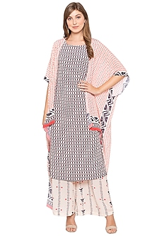 Pink & Blue Printed Kurta With Palazzo Pants & Cape by Soup by Sougat Paul