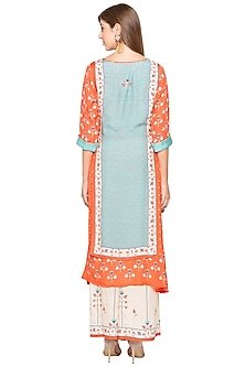 Orange Printed Kurta With Off White Palazzo Pants by Soup by Sougat Paul