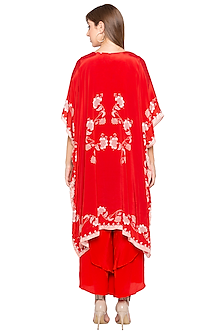 Red Printed Crop Top With Pants & Embroidered Cape by Soup by Sougat Paul