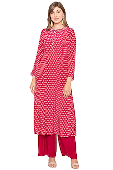 Magenta Printed & Embroidered Kurta With Palazzo Pants by Soup by Sougat Paul
