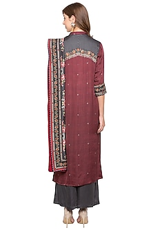 Maroon & Black Embroidered Kurta Set by Soup by Sougat Paul