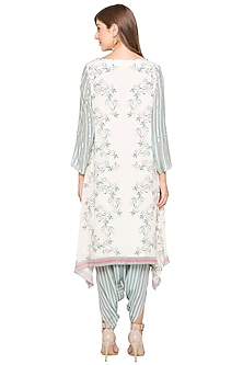Off White & Teal Green Printed Embroidered Kurta With Dhoti Pants by Soup by Sougat Paul