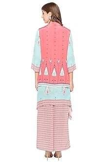Blue Printed Kurta With Pink Jacket & Palazzo Pants by Soup by Sougat Paul