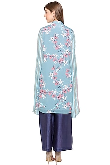 Blue Printed & Embroidered Kurta With Palazzo Pants by Soup by Sougat Paul