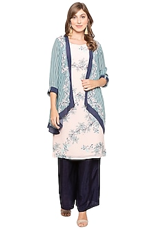 Pink Printed Kurta With Blue Palazzo Pants & Teal Green Jacket by Soup by Sougat Paul