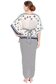 Off White & Navy Blue Kaftan Top With Draped Skirt & Belt by Soup by Sougat Paul