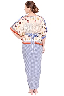 Off White & Blue Kaftan Top With Draped Skirt & Belt by Soup by Sougat Paul