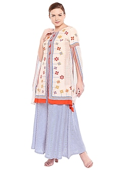 Off White & Blue Printed Kurta With Flared Palazzo Pants by Soup by Sougat Paul