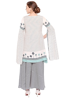 Off White & Navy Blue Printed Kurti With Flared Palazzo Pants by Soup by Sougat Paul