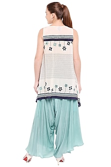 Off White Printed Top With Teal Blue Palazzo Pants by Soup by Sougat Paul